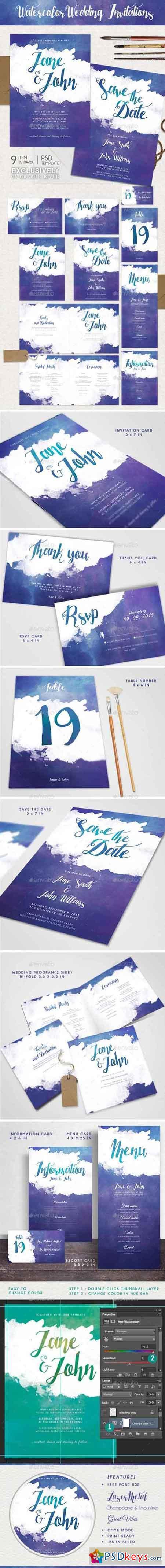 Watercolor Wedding Invitations 13337630