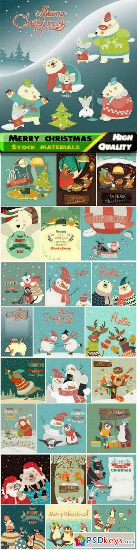Merry christmas scenery with Santa Claus bear snowman deer 25 Eps