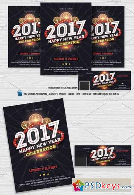 New Year Party Flyer & FB Cover 1020364