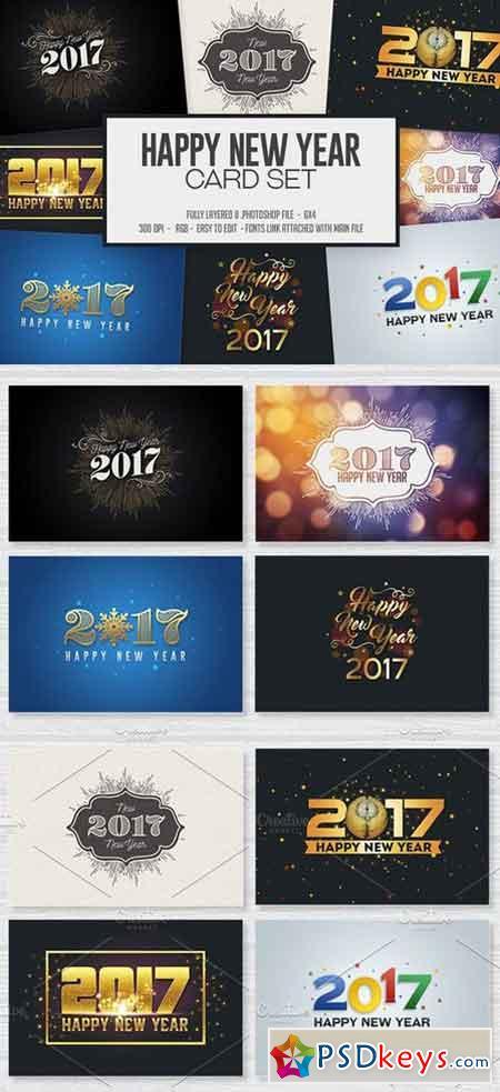 Happy New Year Card Invitation Set 1014702
