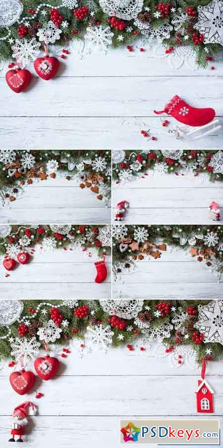 Christmas Decorations on Wooden Background 13