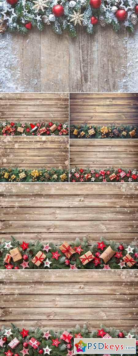 Christmas Decorations on Wooden Background 14