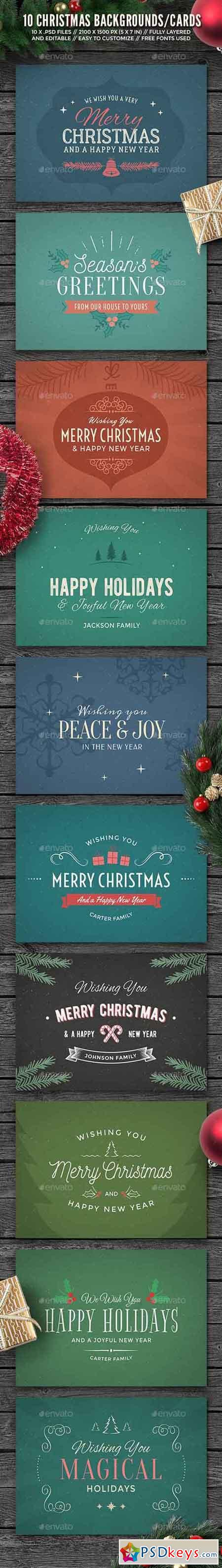 10 Christmas Backgrounds Cards 13905872