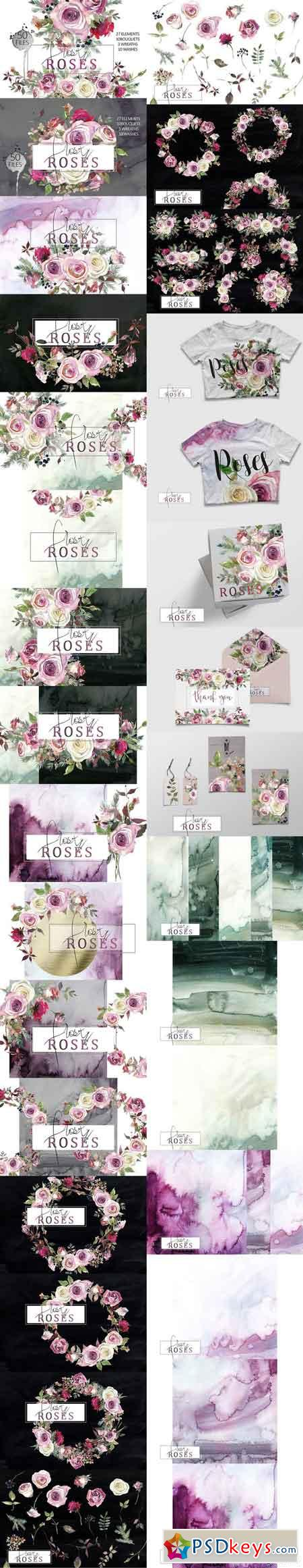 Frosty Roses Watercolor Flowers Set 1020956