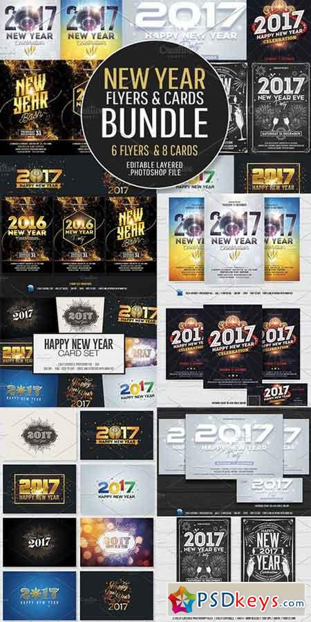 New Year Flyers & Cards Bundle 1035911