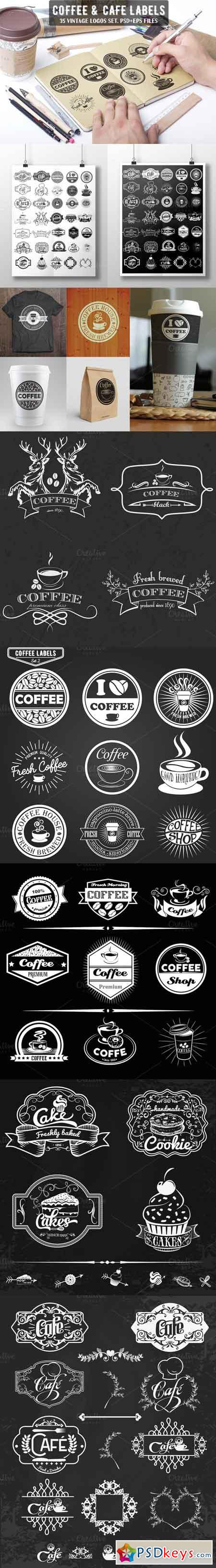 35 Coffee, Cafe & Cake Logo Bundle 394804