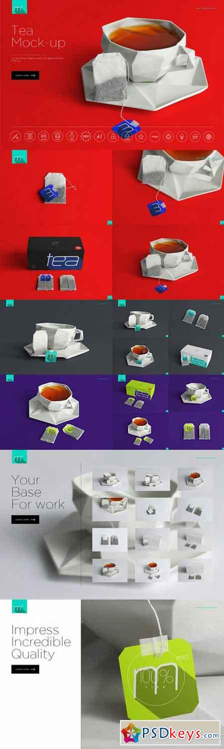 Tea Bag and Box Mock-up 704473