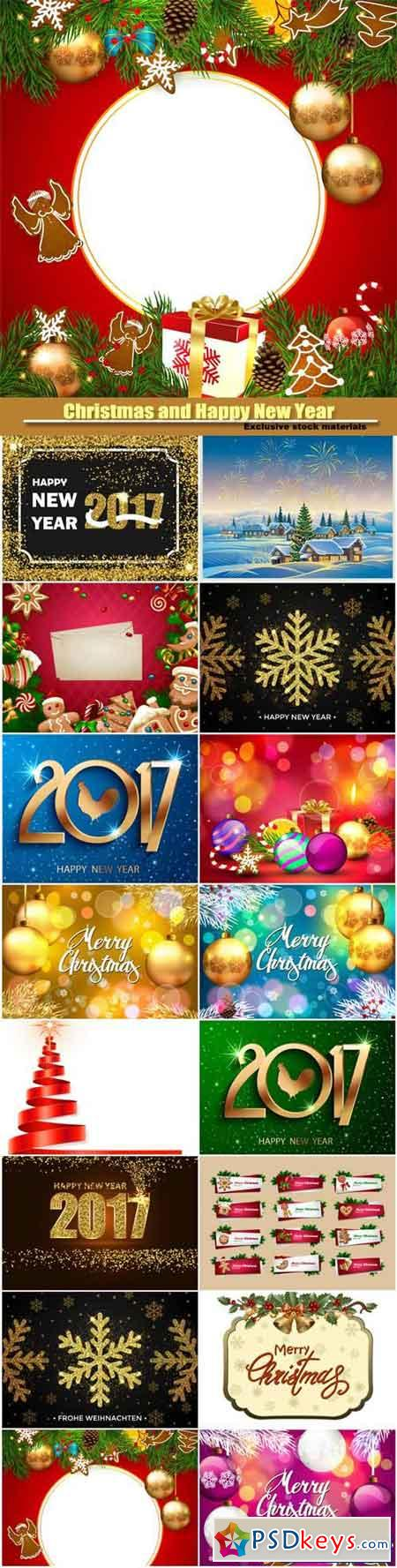 Christmas and Happy New Year 2017, vector party celebration poster
