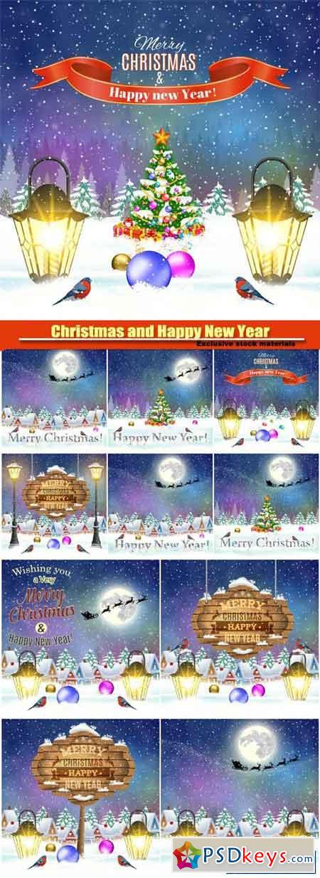 Christmas and Happy New Year vector greeting card, Santa Claus with deers in sky above the city