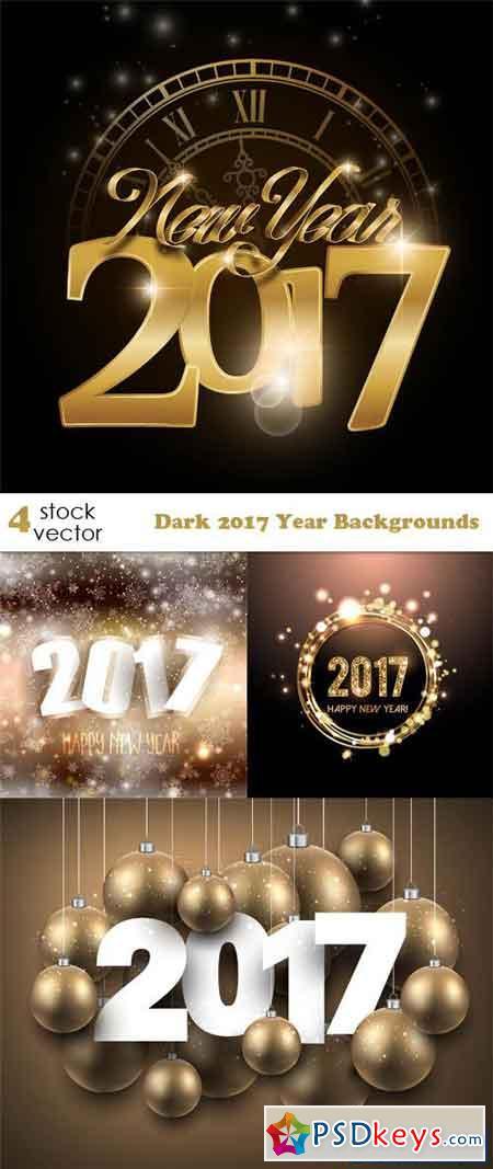 Dark 2017 Year Backgrounds Set