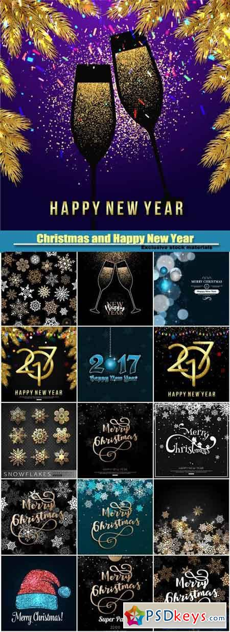 Merry Christmas and Happy New Year vector greeting card, background with gold snowflakes and champagne