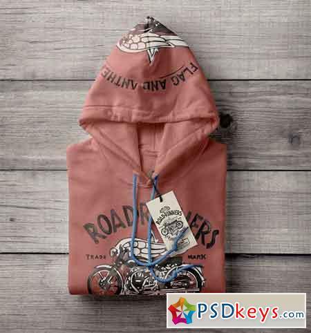 Folded PSD Hoodie Sweatshirt Mockup