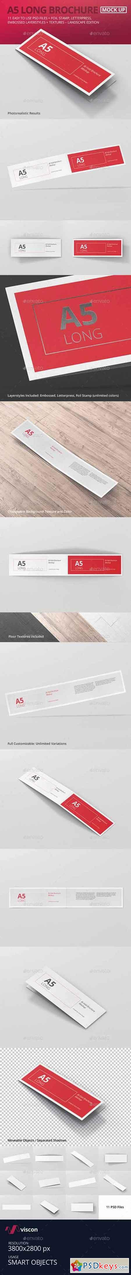 A5 Long Bi-Fold Brochure Mock-Up Landscape 15821784