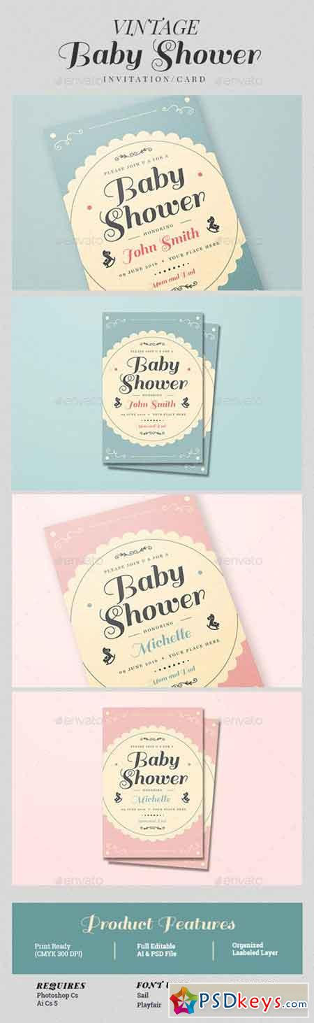 Vintage Baby Shower Invitation Card 15528279