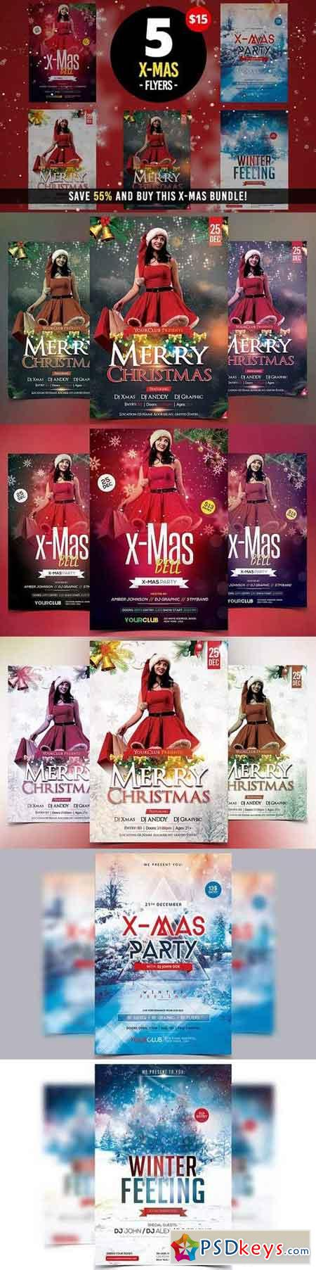 5 X-MAS PSD Flyers Template 1065804