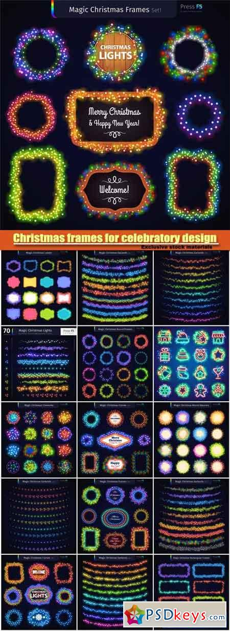 Christmas vector frames for celebratory design, colorful glowing garlands brushes