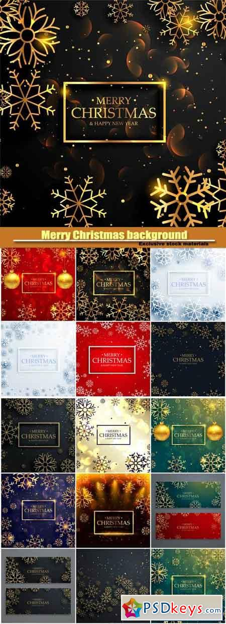 Merry Christmas background with golden snowflakes and light effect