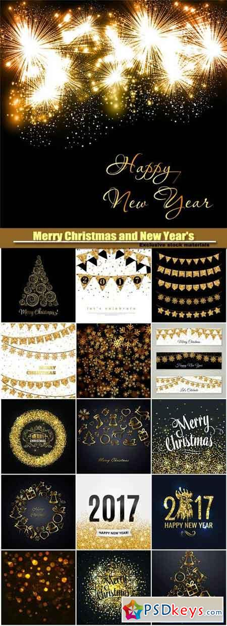 Merry Christmas and NY BG, gold glitter design, snowflake on a dark background