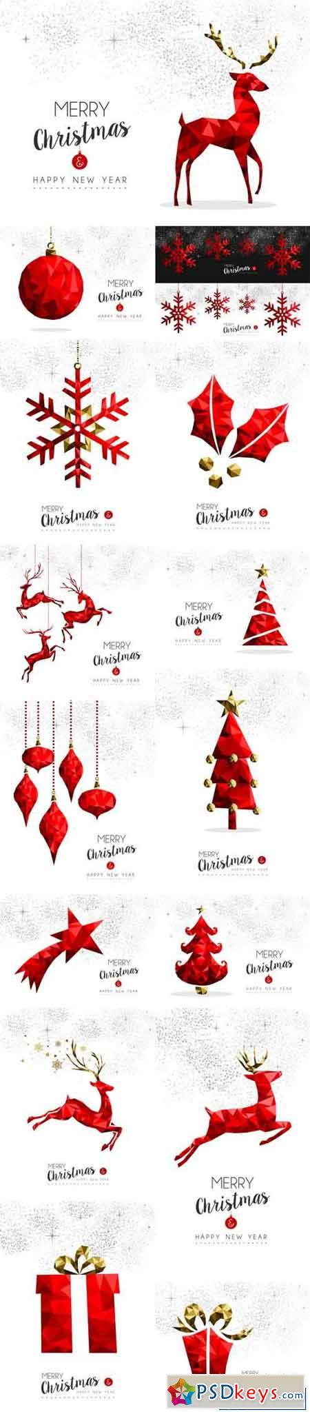 Red Christmas Tree, Deer and Gift Decoration for Greeting Card
