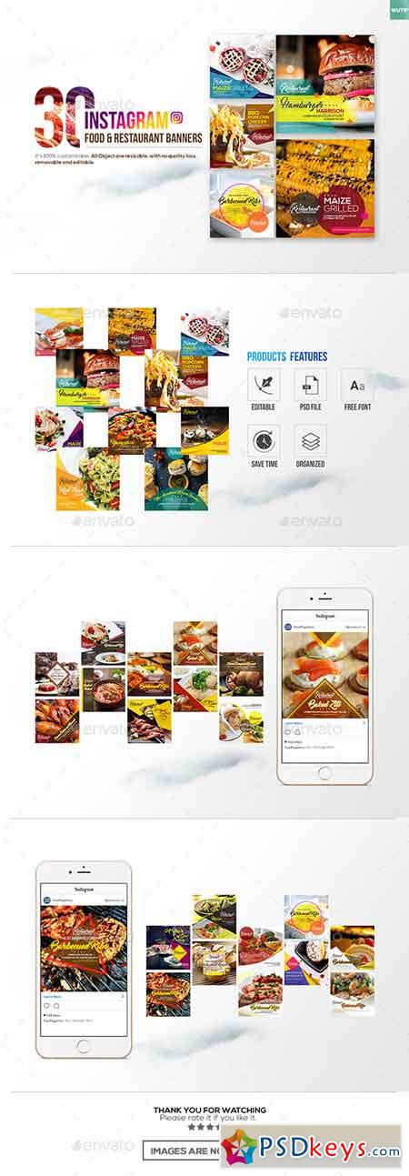30 Instagram Food & Restaurant Banners 18416131 » Free
