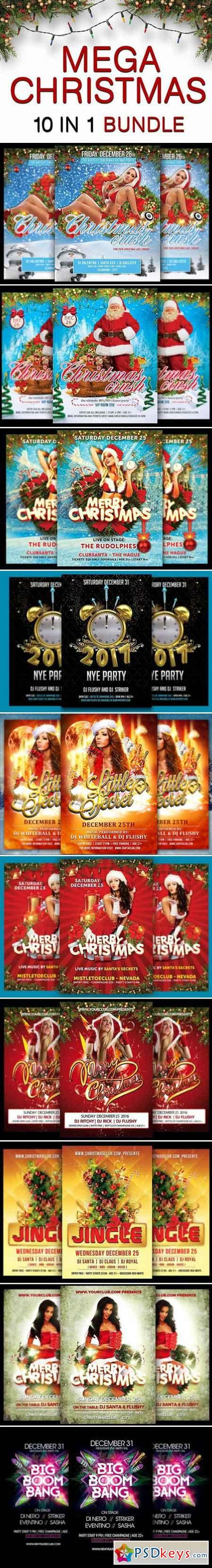 Mega Christmas & NYE Flyer Bundle 981036