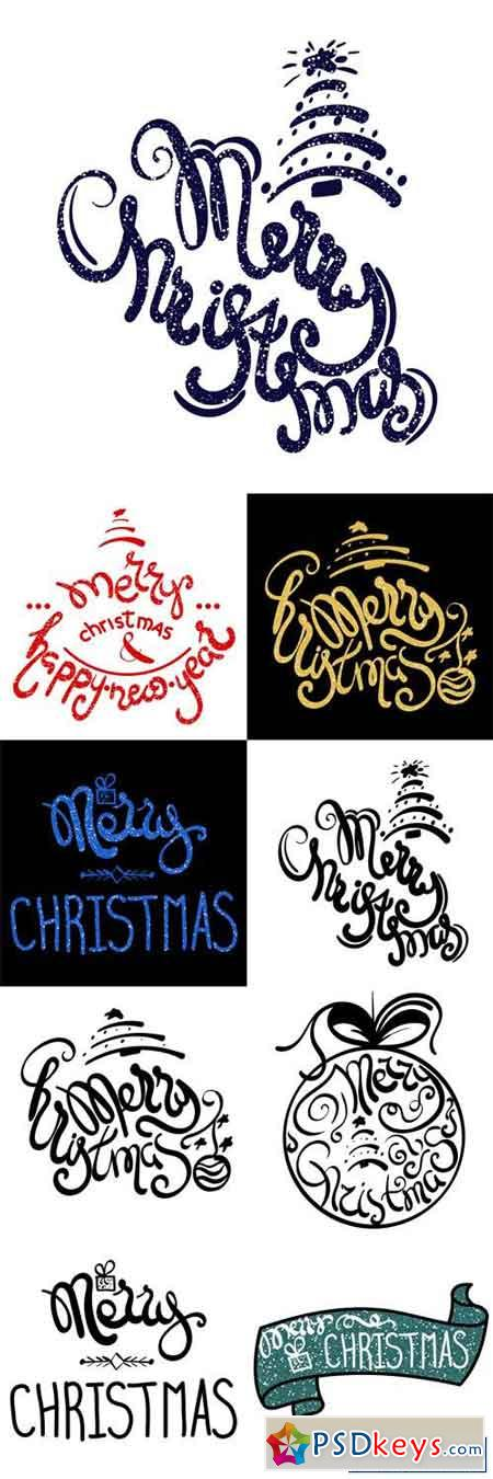 Inscription - Merry Christmas. Hand drawn lettering