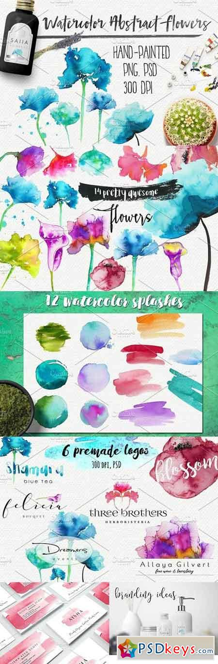 Watercolor abstract flowers 958363