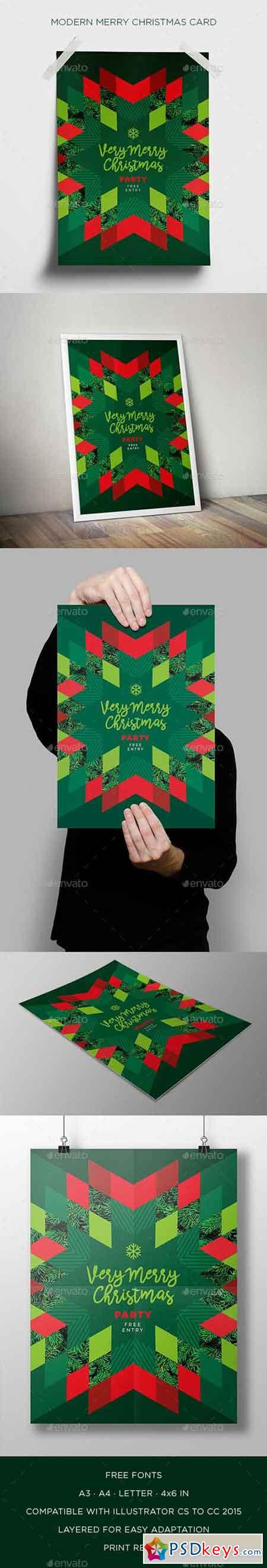 Modern Merry Christmas Card 19002777
