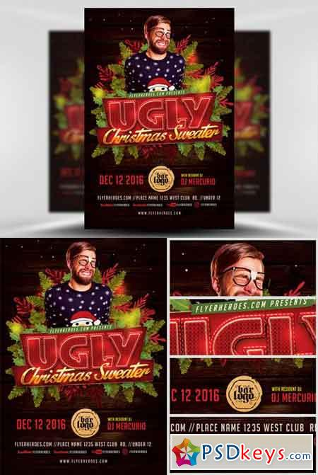 Ugly Sweater Christmas Flyer Template v2