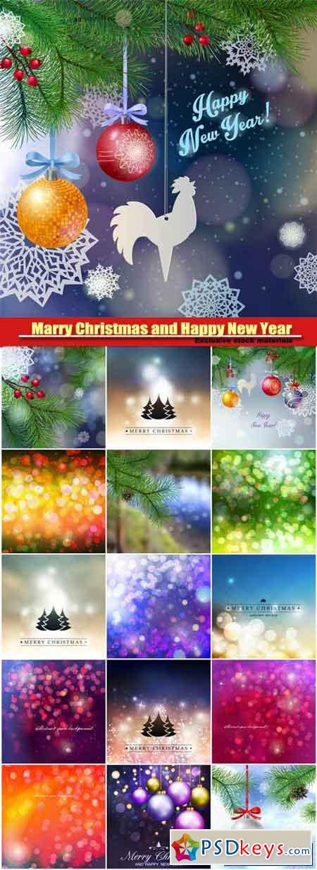 Marry Christmas and HPNY, tree branches, beautiful balls, paper snowflakes, festive winter background
