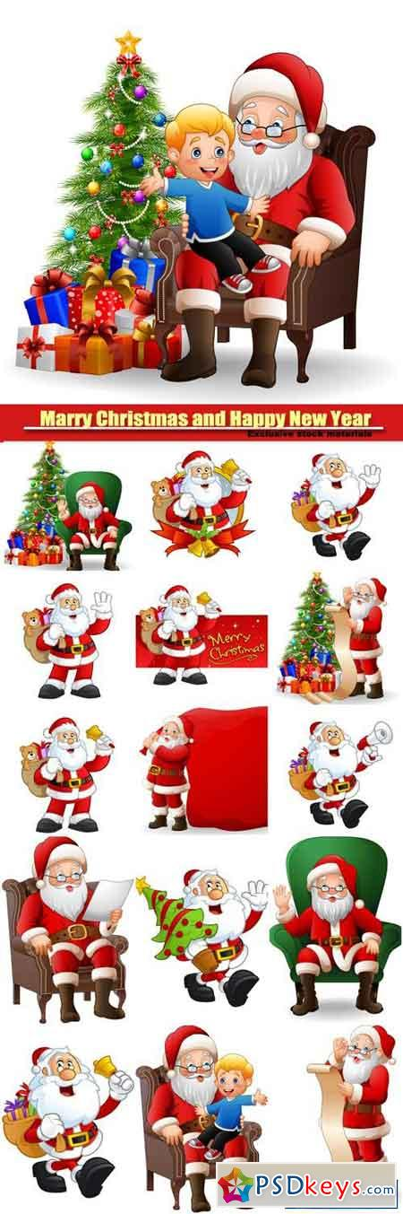 Santa Claus with Christmas gifts and tree