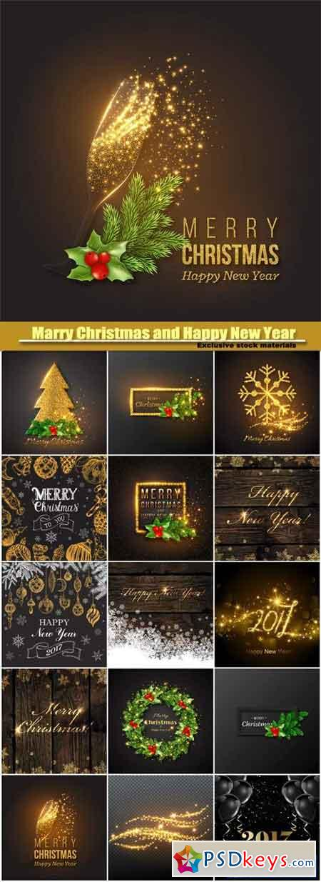 Marry Christmas and HPNY, golden decoration, champagne splash