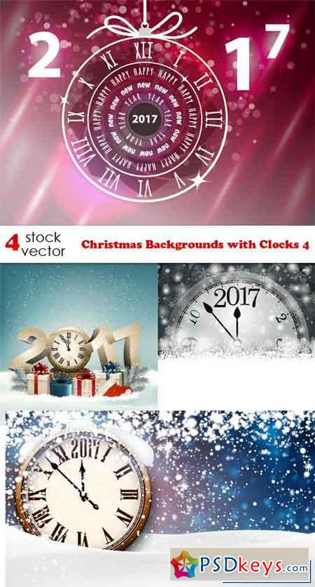 Christmas Backgrounds with Clocks 4