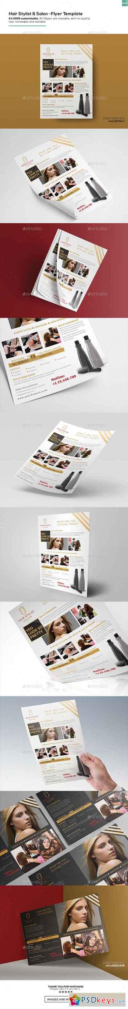 Hair Stylist & Salon Flyer Template 16152961