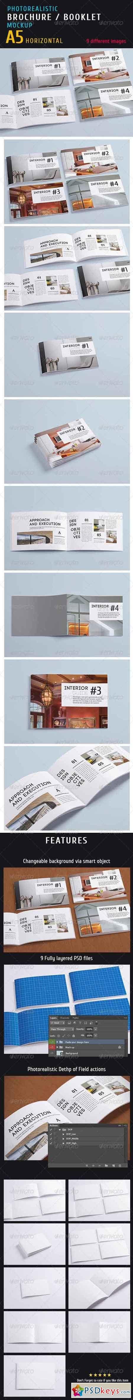 Photorealistic a5 Horizontal Magazine Mock-up 5397657