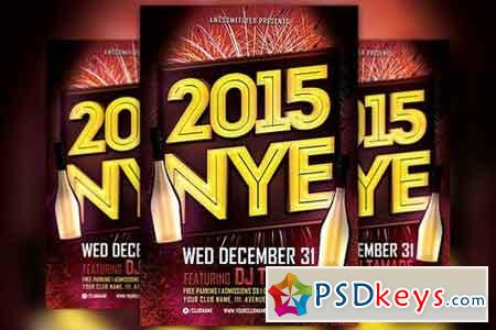 NYE 2015 Typo Party Flyer Template 102016