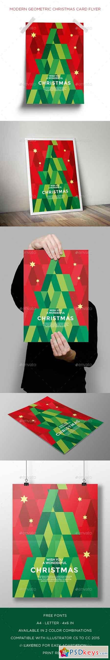 Modern Geometric Christmas Card Flyer 18917660