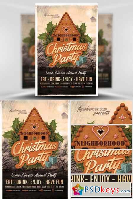 Neighborhood Christmas Party Flyer Template