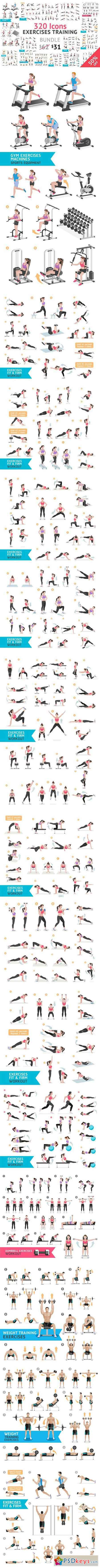 Fitness Aerobic and Exercises Icons 1063017