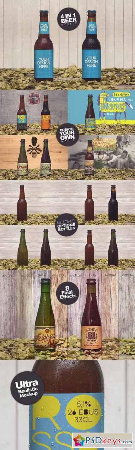 4 Bottles in 1 Mockup 1063045