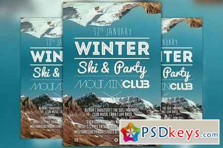 Winter Ski Party Flyer Template 164349 Free Download Photoshop – Winter Flyer Template