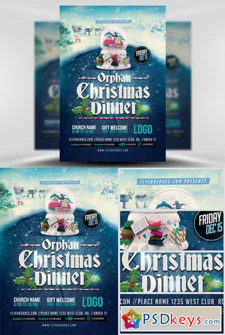 Orphan Christmas Dinner Flyer Template » Free Download Photoshop