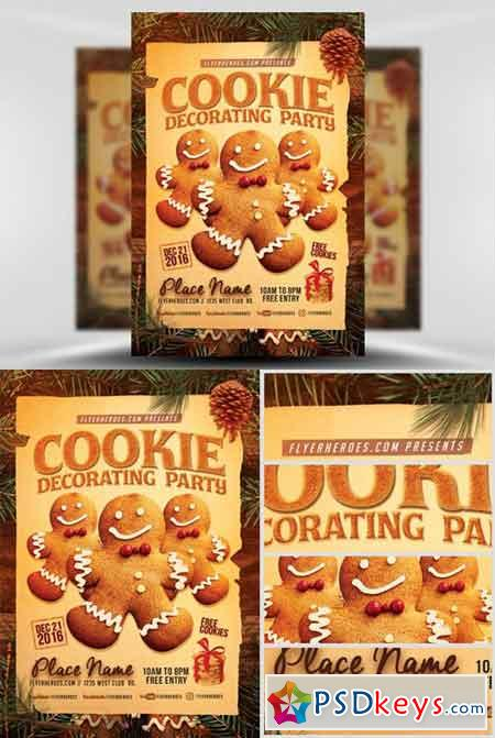 Cookie Decorating Party Flyer Template Free Download Photoshop