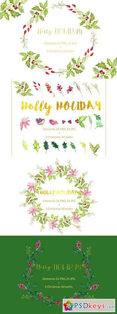 Holly Holiday. Watercolor Clipart. 424406