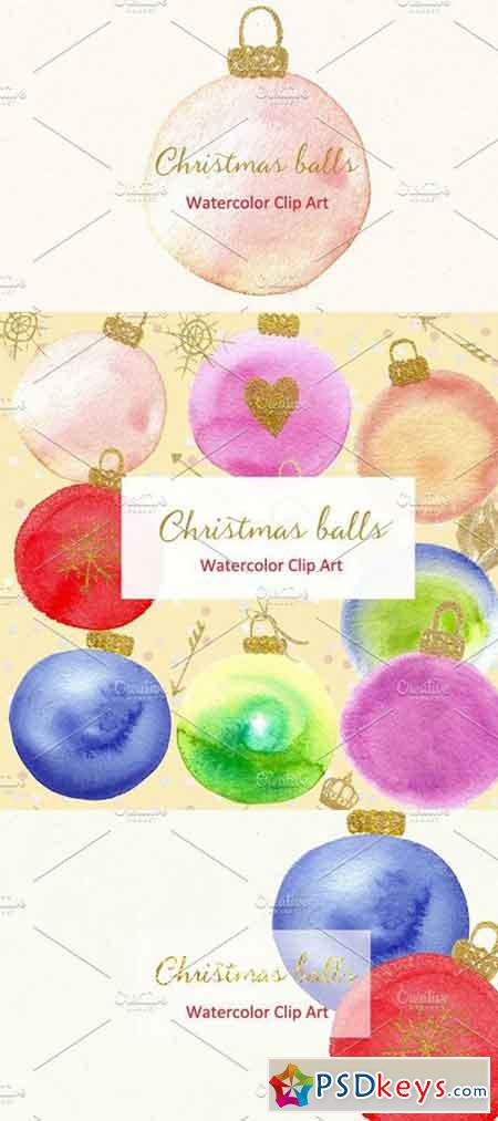 Christmas balls. Watercolor Clipart 407179