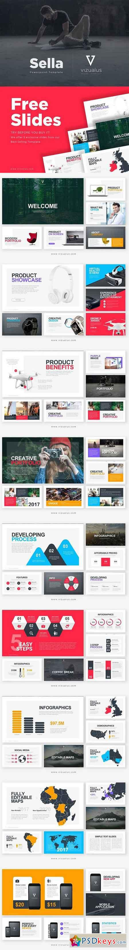 Sella Powerpoint Template + Freebie 909674