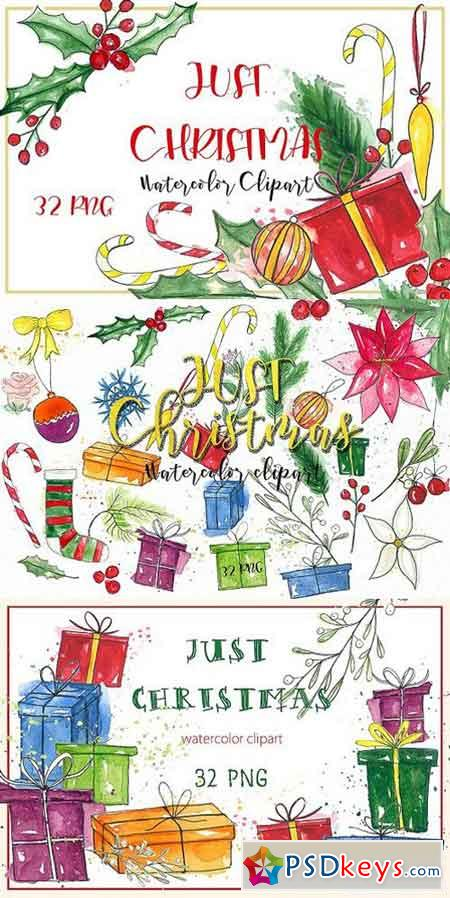 Just Christmas. Watercolor clipart 937085