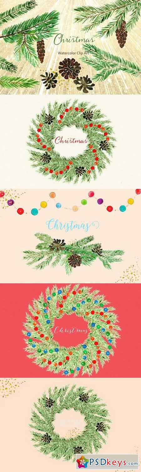Winter Christmas Watercolor Clipart 415389