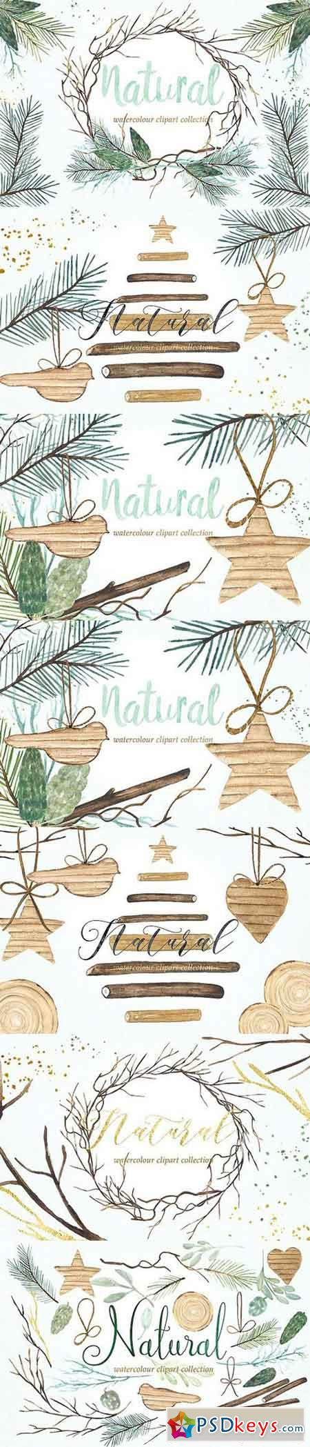 Natural winter. Watercolor clipart 959018