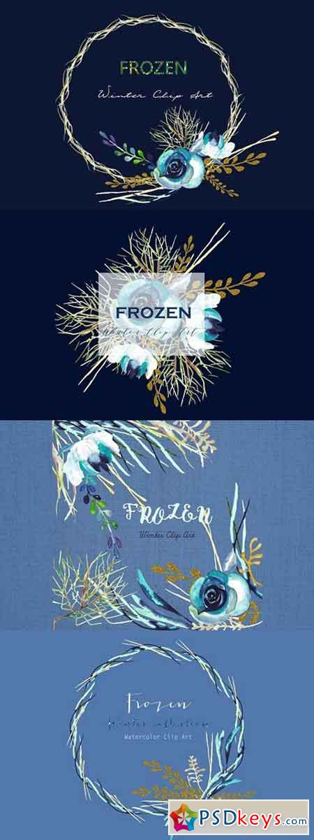 Frozen Winter watercolor Clipart 401757